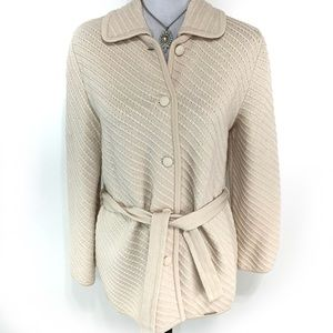 Geiger tan long button belted pure wool cardigan